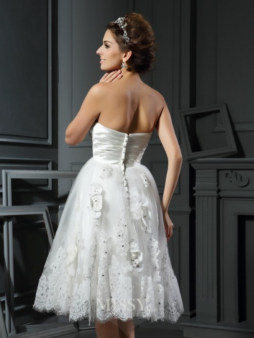 A-Line/Princess Sweetheart Satin Sleeveless Tea-Length Ruched Wedding Dresses