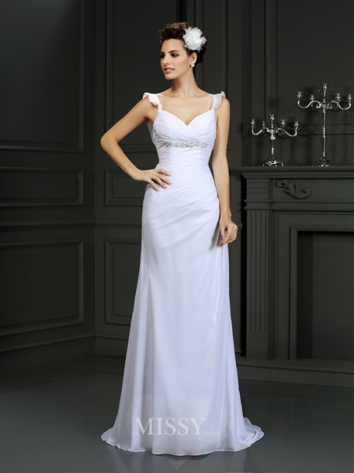 Trumpet/Mermaid Straps Beading Sleeveless Court Train Chiffon Wedding Dress