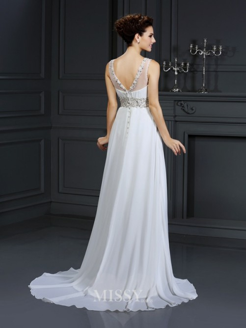 A-Line/Princess Bateau Sleeveless Ruffles Chapel Train Chiffon Wedding Dress