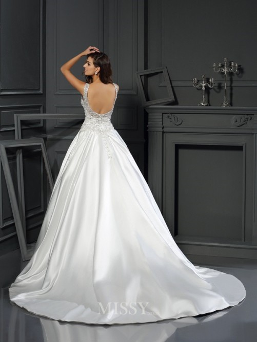 Ball Gown Sleeveless Scoop Satin Applique Chapel Train Wedding Dresses