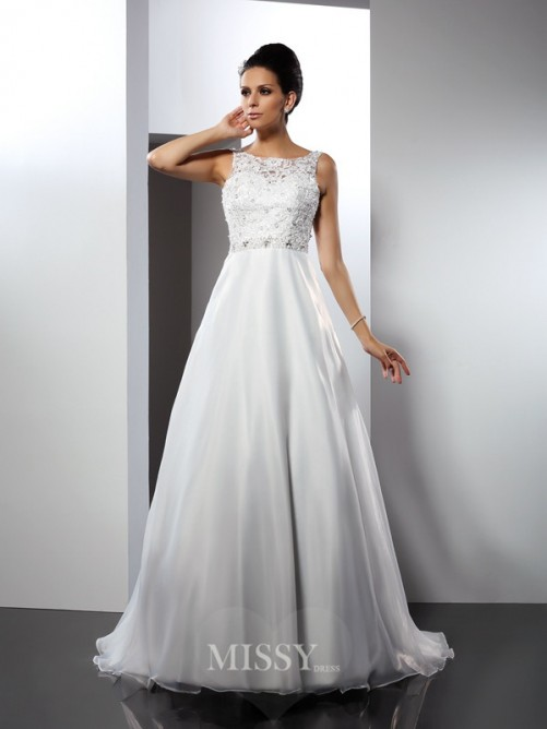 A-Line/Princess Sleeveless Scoop Ruffles Chapel Train Satin Wedding Dresses