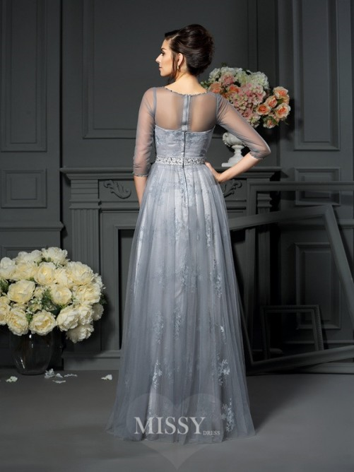A-Line/Princess Scoop 1/2 Sleeves Floor-Length Lace Satin Mother of the Bride Dress