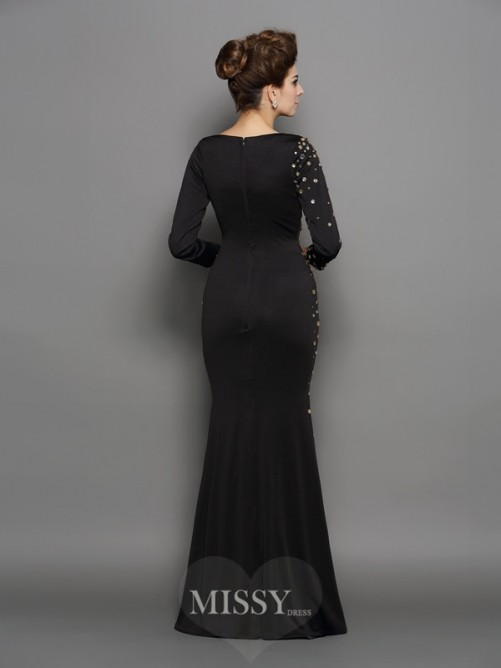Trumpet/Mermaid Scoop Long Sleeves Rhinestone Spandex Floor-Length Dresses