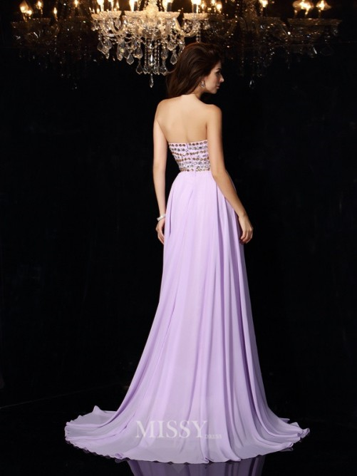 A-Line/Princess Sleeveless Sweetheart Beading Chiffon Floor-Length Dresses