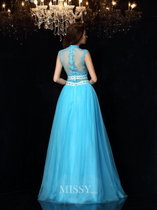 A-Line/Princess Sleeveless High Neck Floor-Length Satin Applique Dresses