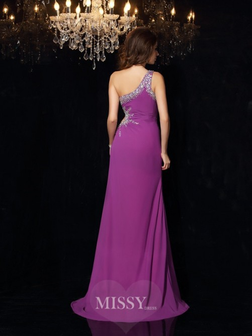 Sheath/Column Sleeveless One-Shoulder Beading Chiffon Floor-Length Dresses