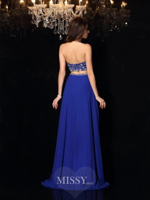 Two Piece A-Line/Princess Sleeveless High Neck Beading Chiffon Sweep/Brush Train Dresses