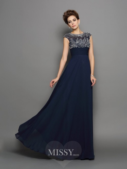 A-Line/Princess Short Sleeves Scoop Chiffon Floor-Length Beading Dresses