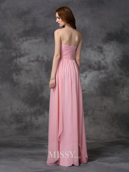 A-line/Princess Sweetheart Ruffles Sleeveless Floor-length Chiffon Dress