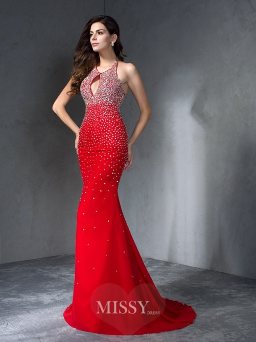 Trumpet/Mermaid Halter Sleeveless Beading Chiffon Sweep/Brush Train Dresses