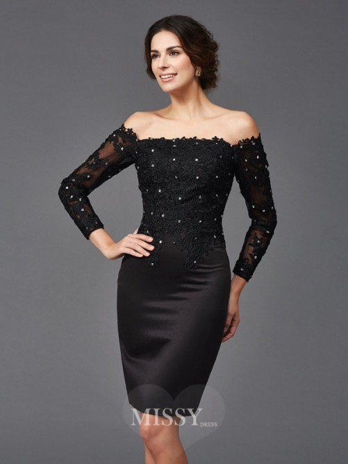Sheath/Column Lace Long Sleeves Off-the-Shoulder Knee-Length Satin Mother of the Bride Dresses