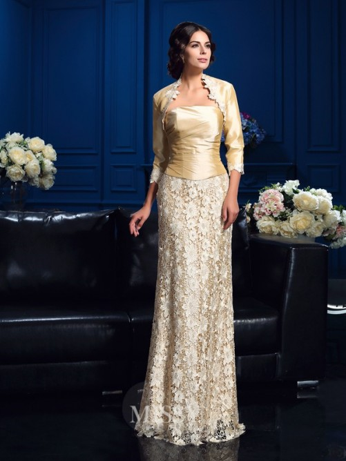 A-Line/Princess Strapless Sleeveless Floor-Length Lace Mother Of The Bride Dresses