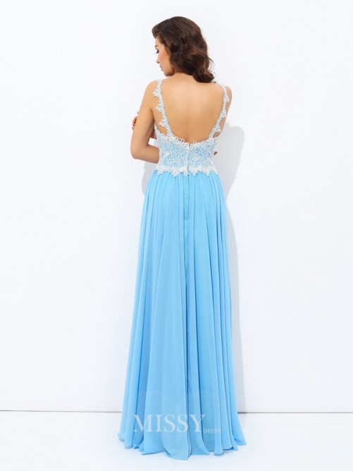 A-Line/Princess V-neck Lace Sleeveless Floor-length Chiffon Dresses