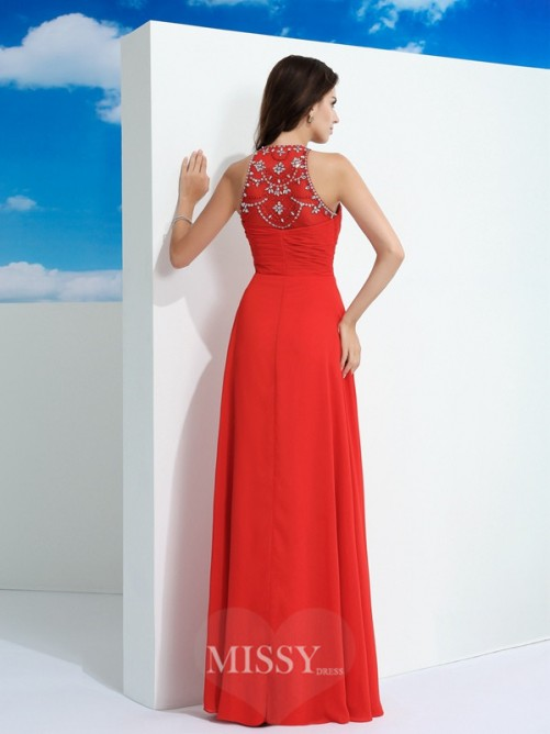 A-Line/Princess Sleeveless Sheer Neck Floor-Length Beading Chiffon Dresses