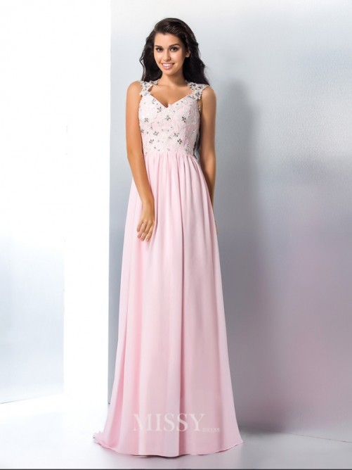A-Line/Princess Sleeveless V-neck Applique Chiffon Sweep/Brush Train Gown