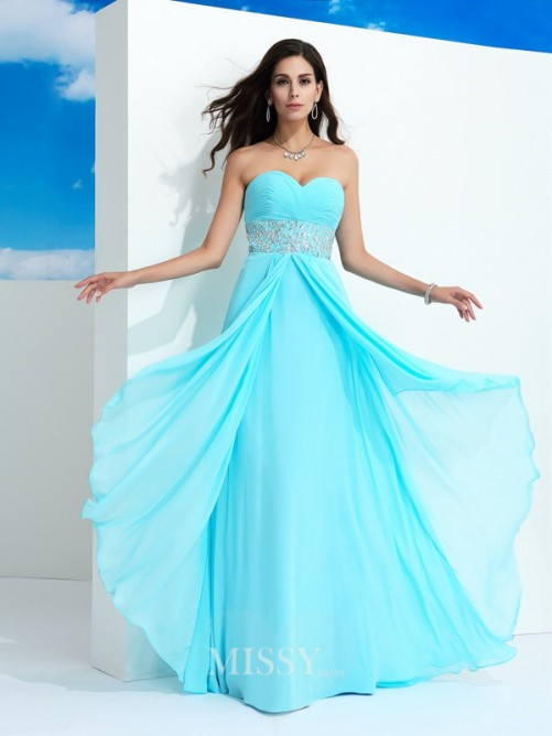 A-Line/Princess Sleeveless Sweetheart Beading Floor-Length Chiffon Dresses