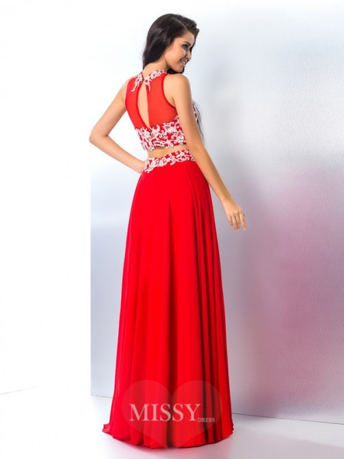 A-Line/Princess Sleeveless Sheer Neck Applique Chiffon Floor-Length Two Piece Gown