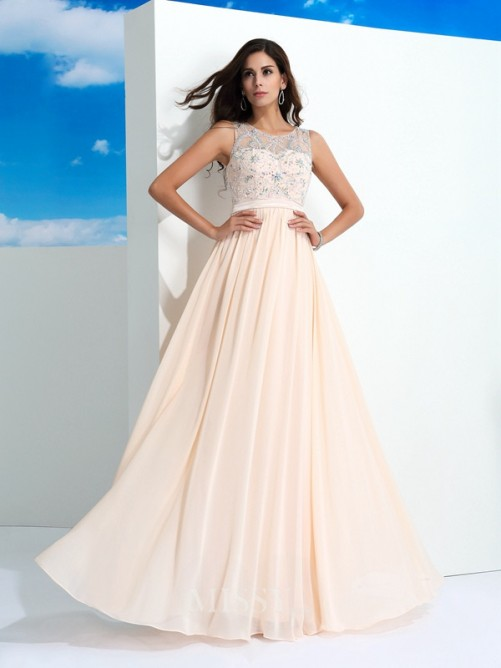A-Line/Princess Beading Sleeveless Sheer Neck Floor-Length Chiffon Dresses