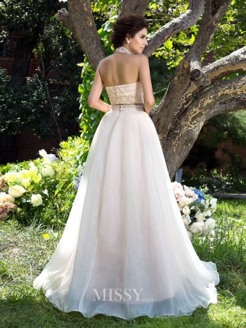 A-Line/Princess Sleeveless High Neck Net Sweep/Brush Train Beading Two Piece Dresses