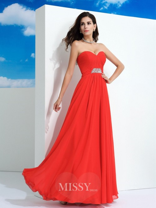 A-Line/Princess Sleeveless Sweetheart Floor-Length Beading Chiffon Dresses