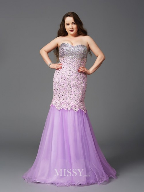 Trumpet/Mermaid Sleeveless Sweetheart Beading Sweep/Brush Train Net Plus Size Dresses