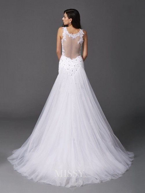 Trumpet/Mermaid Sleeveless Straps Net Sweep/Brush Train Wedding Dresses