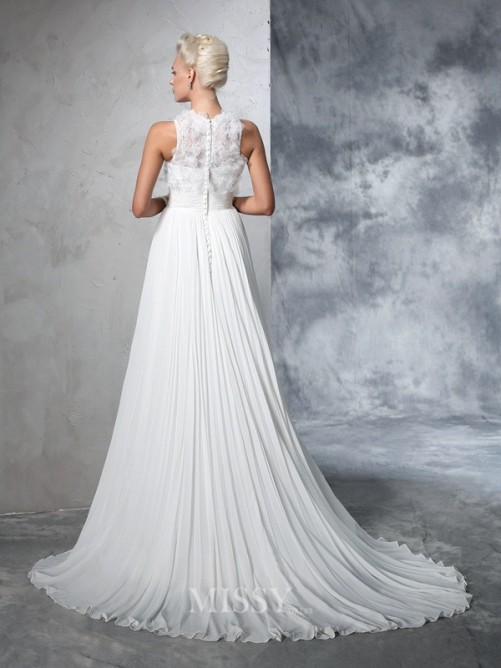 A-Line/Princess Sleeveless High Neck Chiffon Pleats Court Train Wedding Dresses