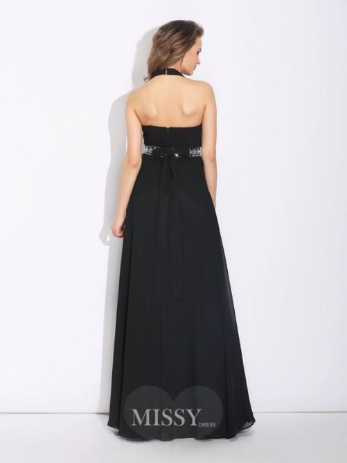 A-Line/Princess Halter Beading Sleeveless Floor-Length Chiffon Bridesmaid Dress