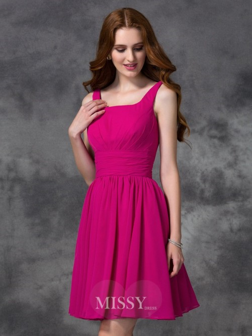 A-line/Princess Sleeveless Square Mini Chiffon Bridesmaid Dresses