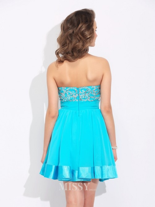 A-Line/Princess Sweetheart Ruffles Sleeveless Mini Chiffon Dress