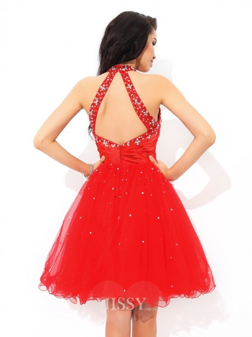 A-Line/Princess High Neck Beading Sleeveless Mini Net Cocktail Dress