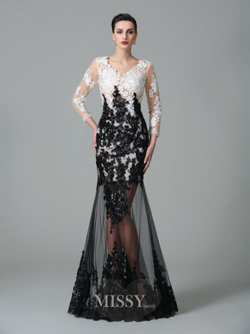 Sheath/Column 3/4 Sleeves V-neck Lace Floor-Length Net Dresses