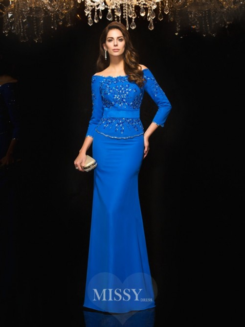 Sheath/Column Off-the-Shoulder 3/4 Sleeves Beading Floor-Length Chiffon Dresses