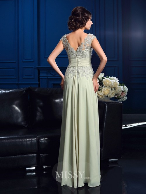 A-Line/Princess Sleeveless V-neck Applique Floor-Length Chiffon Mother Of The Bride Dresses