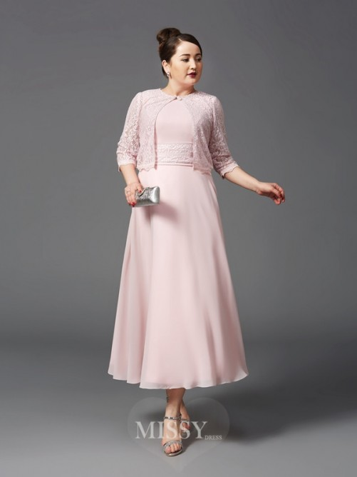 A-Line/Princess Jewel Sleeveless Lace Ankle-Length Chiffon Plus Size Mother of the Bride Dresses