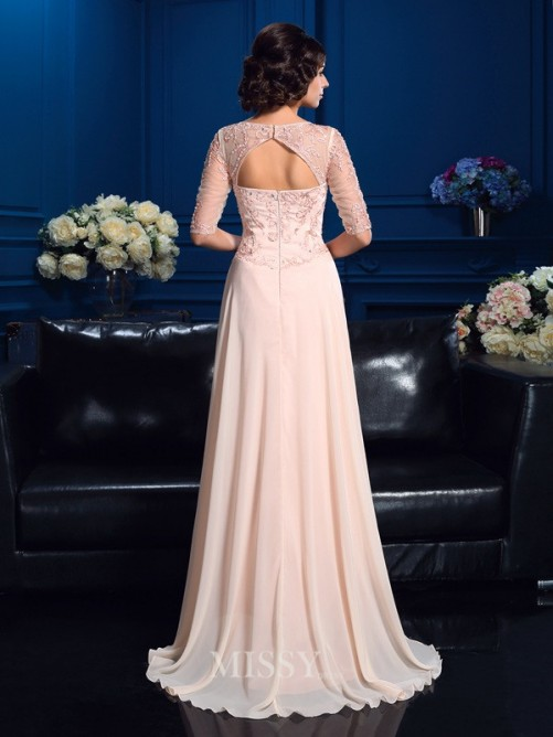 A-Line/Princess 1/2 Sleeves V-neck Beading Sweep/Brush Train Chiffon Mother Of The Bride Dresses