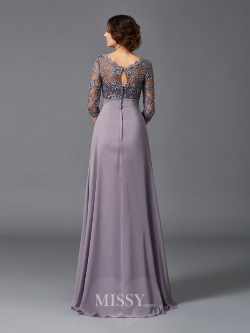 A-Line/Princess 3/4 Sleeves V-neck Lace Floor-Length Chiffon Mother of the Bride Dresses