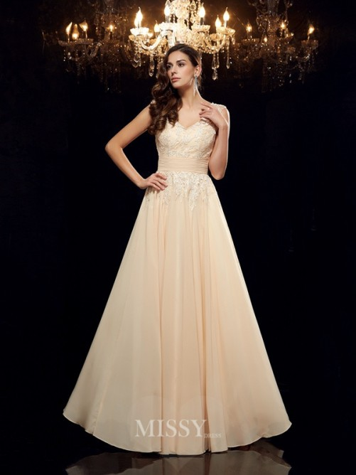 A-Line/Princess Sleeveless Straps Chiffon Applique Floor-Length Mother of the Bride Dresses