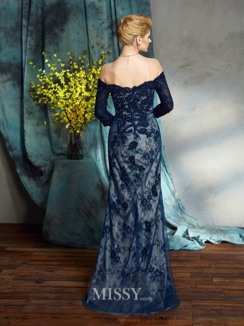 Trumpet/Mermaid Off-the-Shoulder 3/4 Sleeves Floor-Length Lace Mother of the Bride Dresses