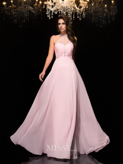 A-Line/Princess Halter Sleeveless Beading Floor-Length Chiffon Dresses