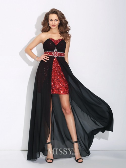 A-Line/Princess Sweetheart Sequin Sleeveless Asymmetrical Chiffon Dress