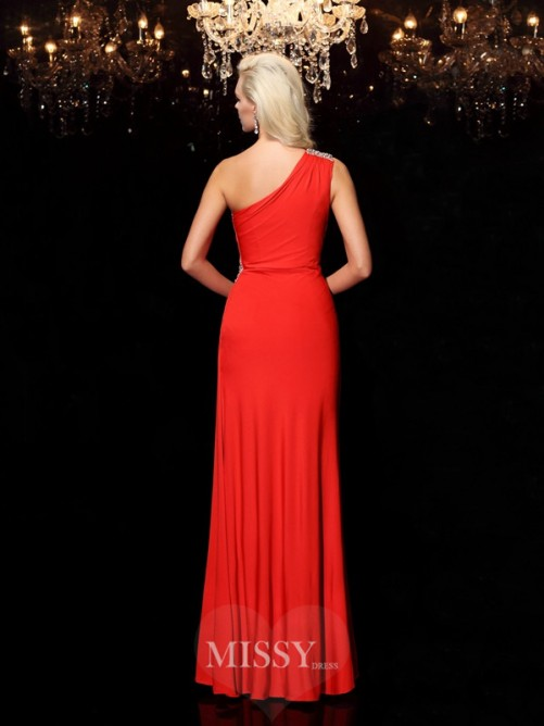 Sheath/Column Beading Sleeveless One-Shoulder Floor-Length Spandex Dresses