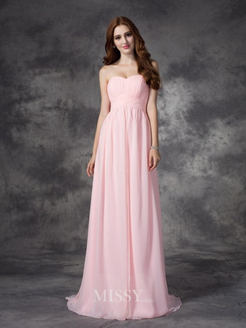 A-line/Princess Sleeveless Sweetheart Ruched Sweep/Brush Train Chiffon Dress