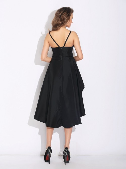 A-Line/Princess Spaghetti Straps Ruffles Sleeveless Asymmetrical Taffeta Dress