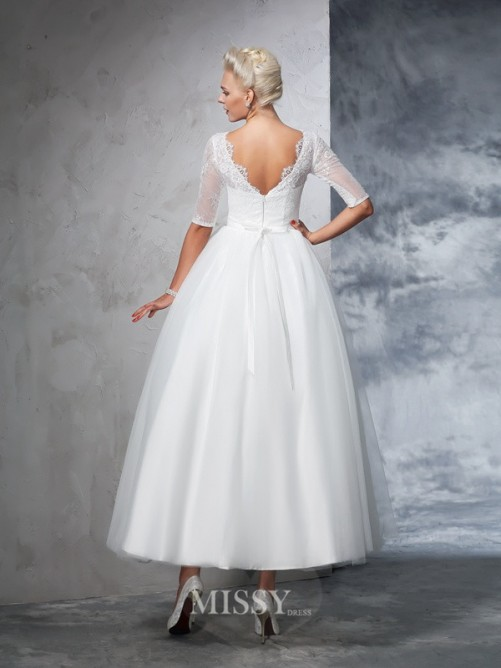 Ball Gown 1/2 Sleeves Bateau Net Ankle-Length Lace Wedding Dresses