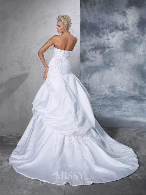 Ball Gown Sleeveless Strapless Satin Applique Chapel Train Wedding Gown