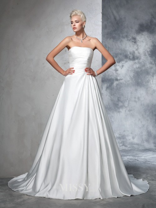 Ball Gown Strapless Satin Sleeveless Ruched Chapel Train Wedding Dress
