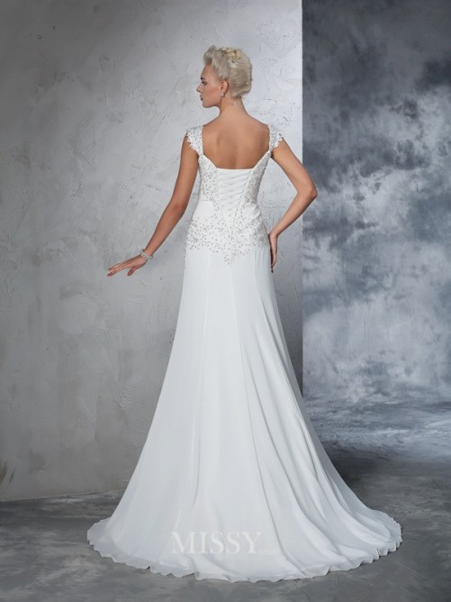A-Line/Princess Sleeveless Straps Chiffon Beading Court Train Wedding Gown