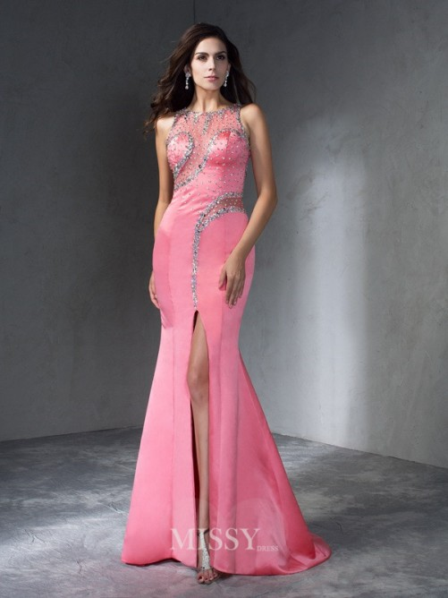 Trumpet/Mermaid Sleeveless Scoop Beading Sweep/Brush Train Satin Dresses