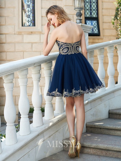 A-Line/Princess Sweetheart Sleeveless Applique Short/Mini Net Dresses